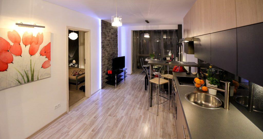 Intérieur composé d'une cuisine ouverte sur séjour