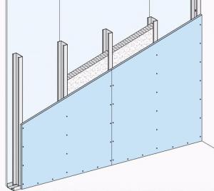 Schéma de principe d'une cloison à ossature métallique