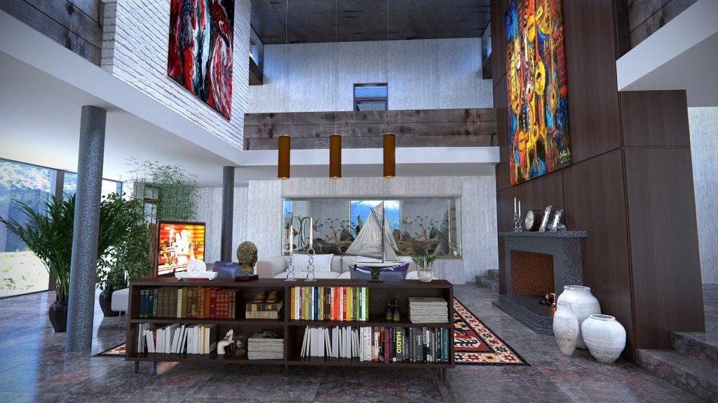 Pièce à vivre en duplex et arts abstraits