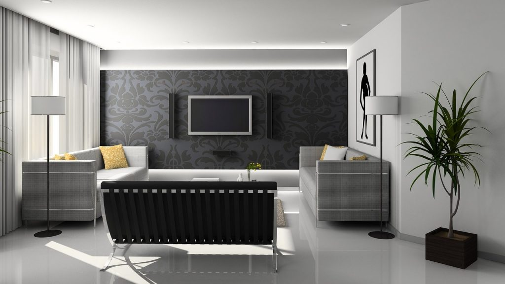 Les murs et plafonds d'un salon à la décoration contemporaine
