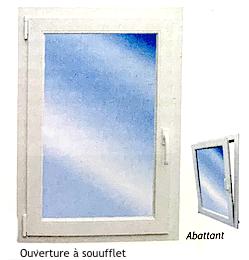 Illustration d'une fenêtre à ouverture à soufflet