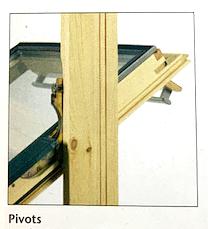 Illustration d'une fenêtre à mécanisme d'ouverture par pivots