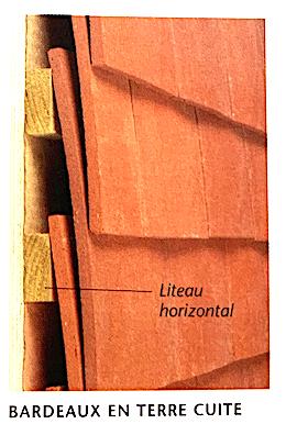 Illustration d'un mur extérieur recouvert de bardeaux en terre cuite