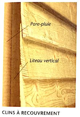 Illustration d'un mur extérieur recouvert de clins bois à recouvrement
