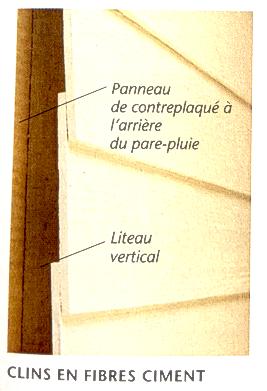 Illustration d'un mur extérieur recouvert de clins en fibres ciment