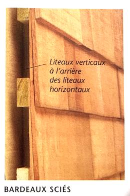Illustration d'un mur extérieur recouvert de bardeaux en bois sciés