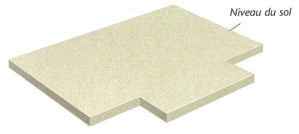 Schéma de principe d'une fondation sur radier d'une maison individuelle