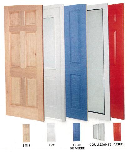 Gamme de portes extérieures en bois, PVC, fibre de verre, coulissante, acier