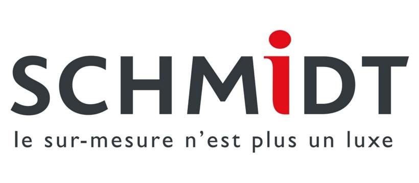 """Références - Logo SCHMIDT comprenant le slogan """"le sur-mesure n'est plus un luxe"""""""