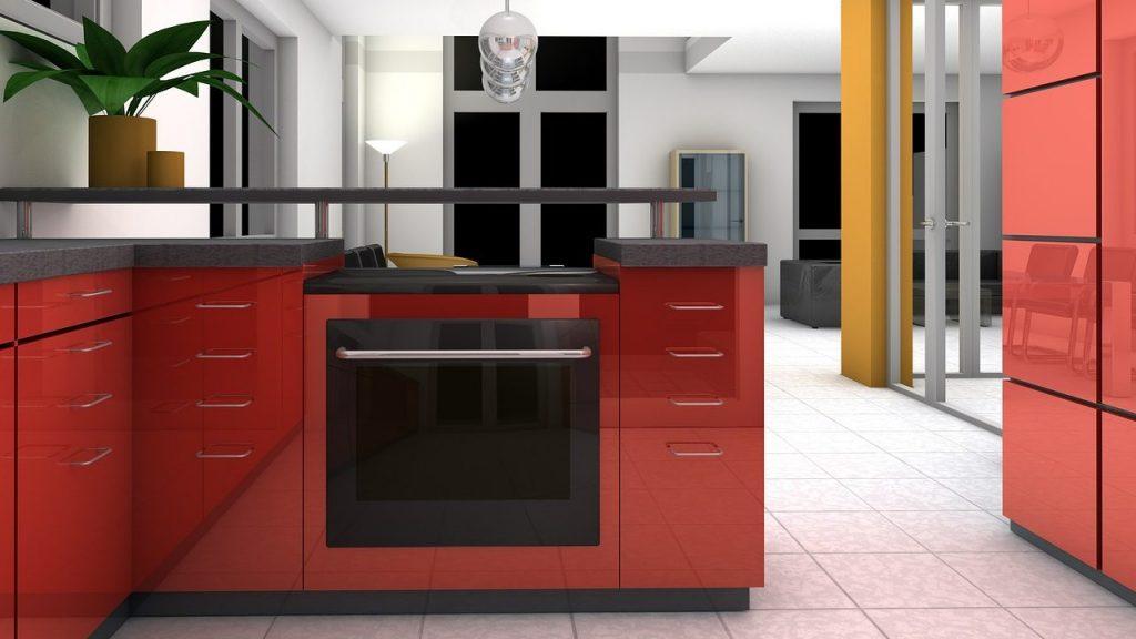 Cuisine contemporaine composée d'un plan comptoir en L et mobilier