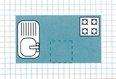 Schéma d'aménagement d'un élément en ilot central de cuisine