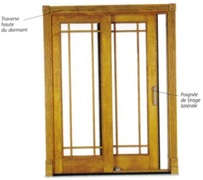 Porte fenêtre bois coulissante à poignée de tirage latérale