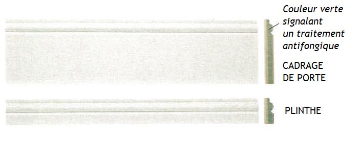 Plinthes blanches moulurées en MDF traité antifongique