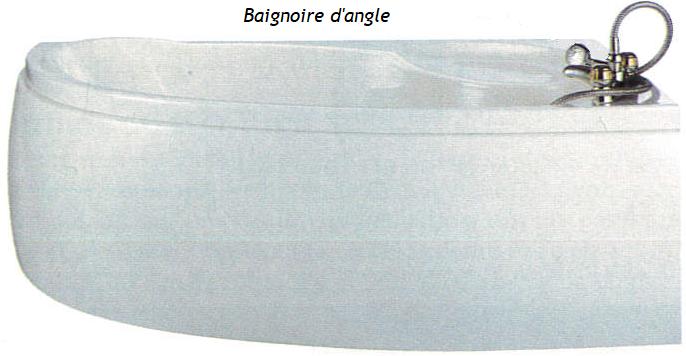 Modèle de baignoire d'angle en résine acrylique et tablier d'habillage