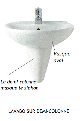 Lavabo sur demi-colonne céramique masquant le vidage d'écoulement